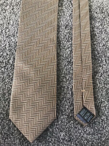 """Marks and Spencer bronze neutral striped mix 100% silk tie 3.25"""" wide 58"""" long"""