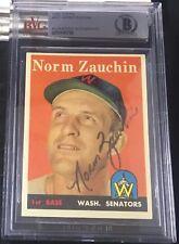 1958 TOPPS #422 NORM ZAUCHIN RARE BAS BECKETT SIGNED CARD AUTOGRAPHED AUTO !