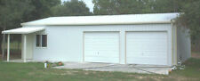 Steel Metal  2-Car Garage with Shop Area, Building Kit 864 sq