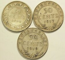 1900 1917 1919 Newfoundland 50 Cents Silver Lot of 3 #7000