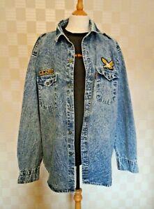 Vintage Men's  Casual Denim Shirt. Blue Snow Wash Finish. US Ary/Eagle Emblems.
