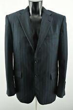 Burberry London Men`s Jacket Collared Casual Blue Woolen Coat Size M