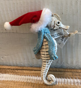 Pier 1 Seahorse Santa Hat & Scarf Christmas Holidays Coastal Nautical Ornament