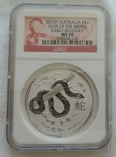 Lunar II Year of the Snake 2013 Early Releases NGC MS70 1 oz silver Australia