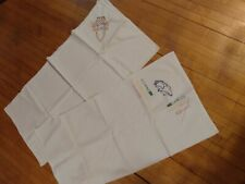 New listing Vintage Lot of 2 cotton Cloth, embroidered pieces, whites, /flour sack cotton,