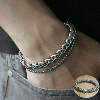 Stainless Men's Link Bracelet Chain Steel Silver Keel Jewelry Wristband Bangle
