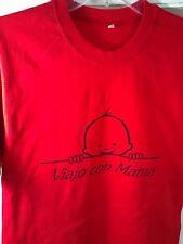M red T-Shirt SAYING SPANISH 'Viajo con mama' TRAVEL mom CAR plane BOAT memory