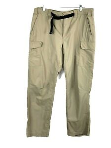 Eddie Bauer Cargo Utility Mens Pants 38X32 Outdoor Hiking Camping Khaki Belted