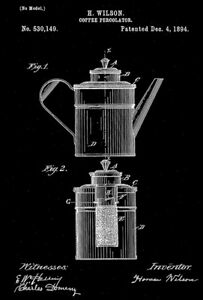 1894 - Coffee Percolator - H. Wilson - Patent Art Poster