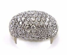 Round Cluster Diamond Pave Dome Ring Band 14k White Gold 5.40Ct
