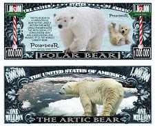 Polar Bear Million Dollar Bill Collectible Fake Play Funny Money Novelty Note