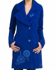 """Fabulous Desigual Abrig-Loto Rep Coat in a Vibrant Blue, 38"""" Bust, NWT"""