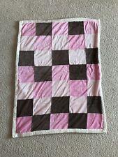 Babies R Us Girl Pink Brown Blanket Squares 2012