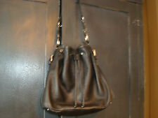 Danier Black Pebbled Leather Hobo Shoulder Bag Purse