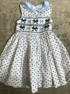 Girls Rachel Riley White & Blue Bow Sleeveless Smocked Dress Size 3 Years