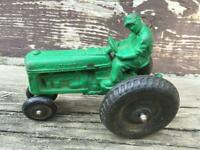 Vintage AUBURN RUBBER Green Balloon Tire Tractor w Rider 1940's