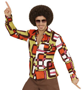 60's 70s Retro Disco Shirt Tubes Mens Hippie Fancy Dress S- XXL