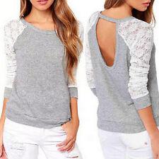 Damen Spitze Shirt Häkeln U-Ausschnitt Langarm Tops Blusen T-Shirts Oberteil DE
