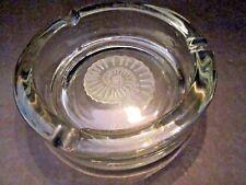 """Crystal clear glass heavy ashtray w/seashell shell. Artist Signed Hebil?? 6"""" d."""
