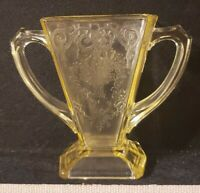 Indiana Depression Glass Yellow Sugar Bowl Flower Basket Pattern Lorain 1932 EUC