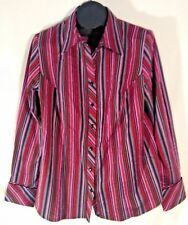 LANE BRYANT WOMAN'S SHIRT RED PURPLE SILVER STRIPED 14/16, (J)
