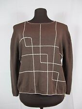 FINITY Dark Brown Rayon Knit Retro Geometric Top Pullover Shell Large