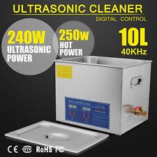 New Stainless Steel 10L Ultrasonic Cleaner  490W Digital Timer Heater W/Bracket