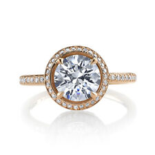 Round Cut 1.70 Ct Diamond 14k Double Ton Gold Rings Engagement Solitaire