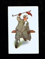 Early 1900's well dressed man w/pennant postcard - LNS