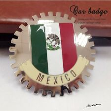 "MEXICO FLAG CAR GRILL BADGE 3D CHROME EMBLEM Big ~4""or 99.8 mm"