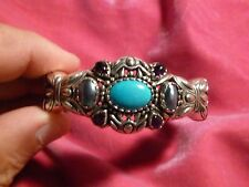 CAROLYN POLLACK STERLING SILVER LEATHER AND TURQUOISE CUFF BRACELET
