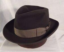 Dobbs Black Fedora Men's Hat Vintage with Gray Ribbon Size 7 1/8