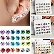 12Pairs Crystal Zircon Stainless Steel Earrings Sets Women Ladies Charm Jewelry