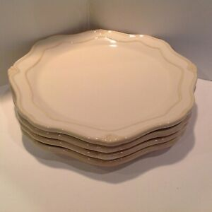 "4 Princess House Pavillion 11.25"" Ivory Dinner Plates Excellent Condition"