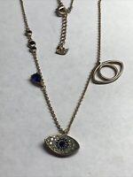 "Swarovski Crystal DUO EVIL EYE Pendant Necklace 17"""