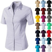 Womens Button Down Shirt Basic SLIM FIT Simple Short Sleeve Collared S010