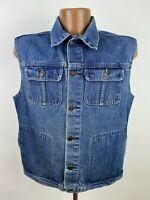 Vintage Levi's Movin On Denim Vest Medium Blue Jean Sleeveless Faded Distressed