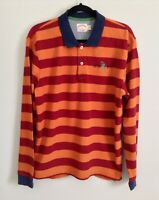 Brooks Brothers Long Sleeve Polo Rugby Shirt BBRC Orange Red Stripe Men's Sz L