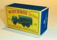 Matchbox Lesney 62 Army Service Lorry Empty Repro D Style Box