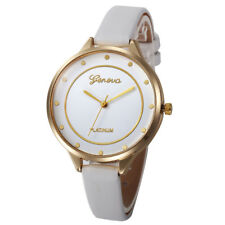 Fashion Women's Simple Stainless Steel Leather Quartz Analog Wrist Watch Slim