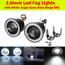 "2.5"" Projector LED Fog Daytime Running Light w/ WHITE COB Halo Angel Eyes Rings"