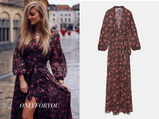 ZARA NEU MAXI KLEID WICKEL LANGE ÄRMEL PRINT WRAP DRESS SOLD OUT M L 2519/138
