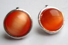 Belles boucles d'oreilles clips bijou vintage couleur argent cabochon orangé 719