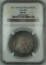 1811 Bank of England 3s Silver Token ESC-408 George III NGC MS-63 Toned AKR