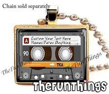 Custom Cassette Tape Scrabble Tile Necklace Pendant Retro Music Jewely Your Text