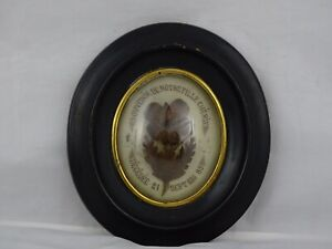 ANTIQUE FRENCH VICTORIAN MOURNING HAIR ART CONVEX GLASS FRAME RELIQUARY 1889