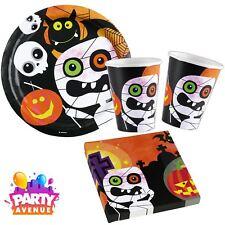 Childrens Halloween Party Tableware Friendly Mummy Pumpkin Plates Cups Napkins