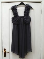 FROCK AND FRILL GREY CRIMPED SHEER EMBELLISHED FEATHER STRAPS FLOATY DRAPE DRESS