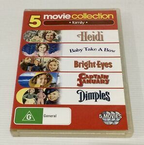 Shirley Temple 5 Film Collection 5 DVDs Includes Heidi Baby Take A Bow Dimples