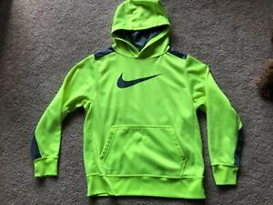 NIKE ~ Youth Hooded Sweatshirt ~ Size L Large ~ Therma Fit ~ Neon Yellow